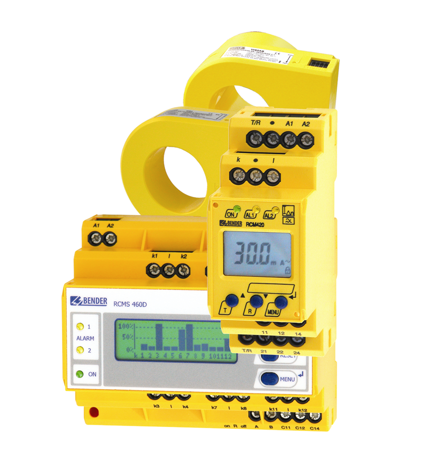A selection of residual current monitoring systems - Types RCMS460, RCM420 and measuring current transformers